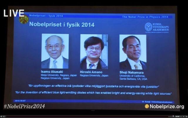 三位日美科学家因LED研究贡献获诺贝尔物理学奖